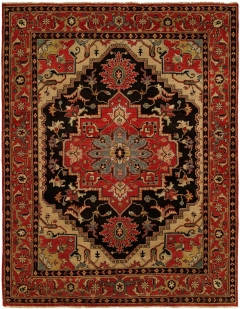 Heris 80. Classic 100% wool hand-knotted rug patterns inspired by the geometry found in traditional Heriz and Serapi rugs. Each of these rugs features a number of fashionable colors and eye-catching motifs. Decidedly traditional yet designed for today! Available in rectangular sizes between 2' x 3' and 12' x 15', and as runners and we can also do custom sizes so please call us for better service.
