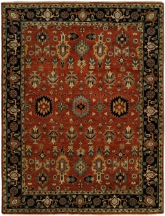 Heris 89. Classic 100% wool hand-knotted rug patterns inspired by the geometry found in traditional Heriz and Serapi rugs. Each of these rugs features a number of fashionable colors and eye-catching motifs. Decidedly traditional yet designed for today! Available in rectangular sizes between 2' x 3' and 12' x 15', and as runners and we can also do custom sizes so please call us for better service.