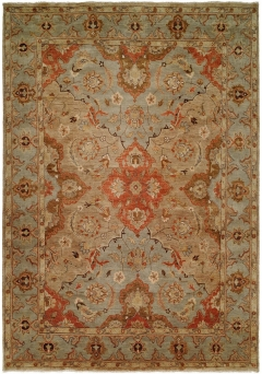 Oushak 449. This Oushak Collection is in a special class of their own - richly colored - 100% wool pile hand knotted in a Turkish style that emulates many of the authentic antique designs and characteristics.