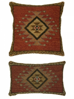 Soumak pillows matching Soumak rugs.