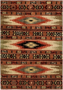 The Mojave Collection is uniquely casual - combine tribal and Southwesternpatterns in a combination of traditional and fashionable colors and motifs. Stylish with a rugged appeal, each rug is hand-knotted in a Tibetan weave from 100% premium hand-spun wool. A handsome choice which is available in sizes: 2' x 3' to 12' x 15' as well as runners. Please call us for better service.